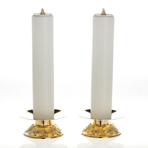 Chandeliers laiton avec bougies à cire liquide lot 2 pcs 1