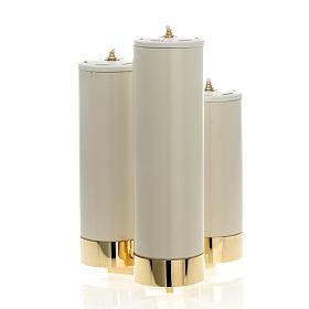 Chandeliers métal: Chandelier 3 flammes avec cierges permanents