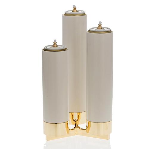 Candeliere 3 fiamme completo di finte candele 2