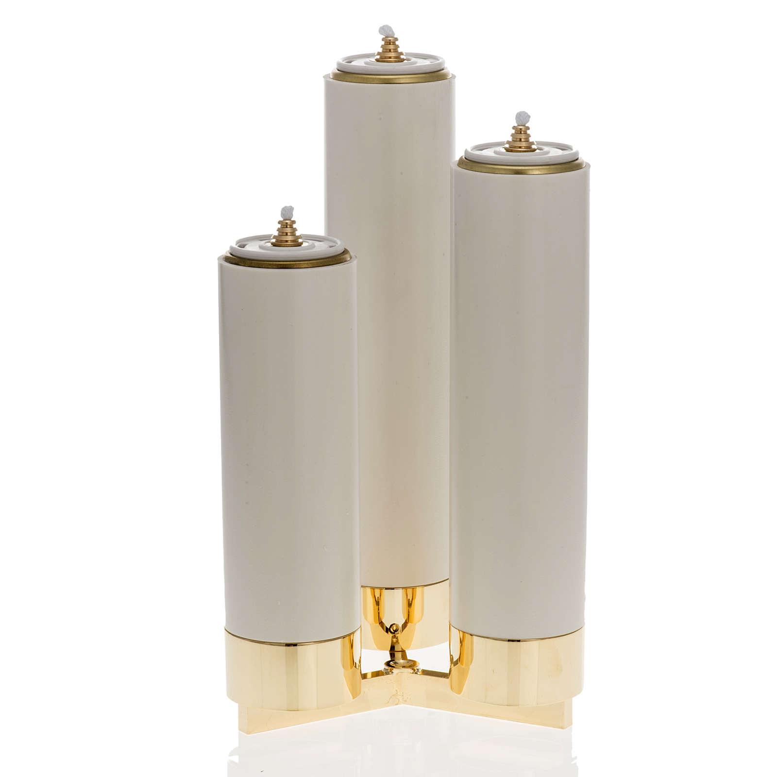 Castiçal 3 bocais completo de velas pvc 4