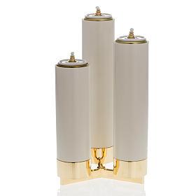 Castiçal 3 bocais completo de velas pvc s2