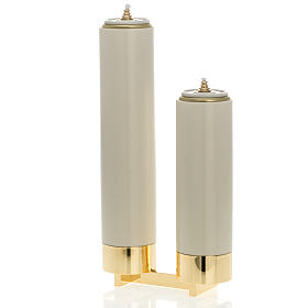 Candeleros de metal: Candeleros 2 llamas completo con velas falsas