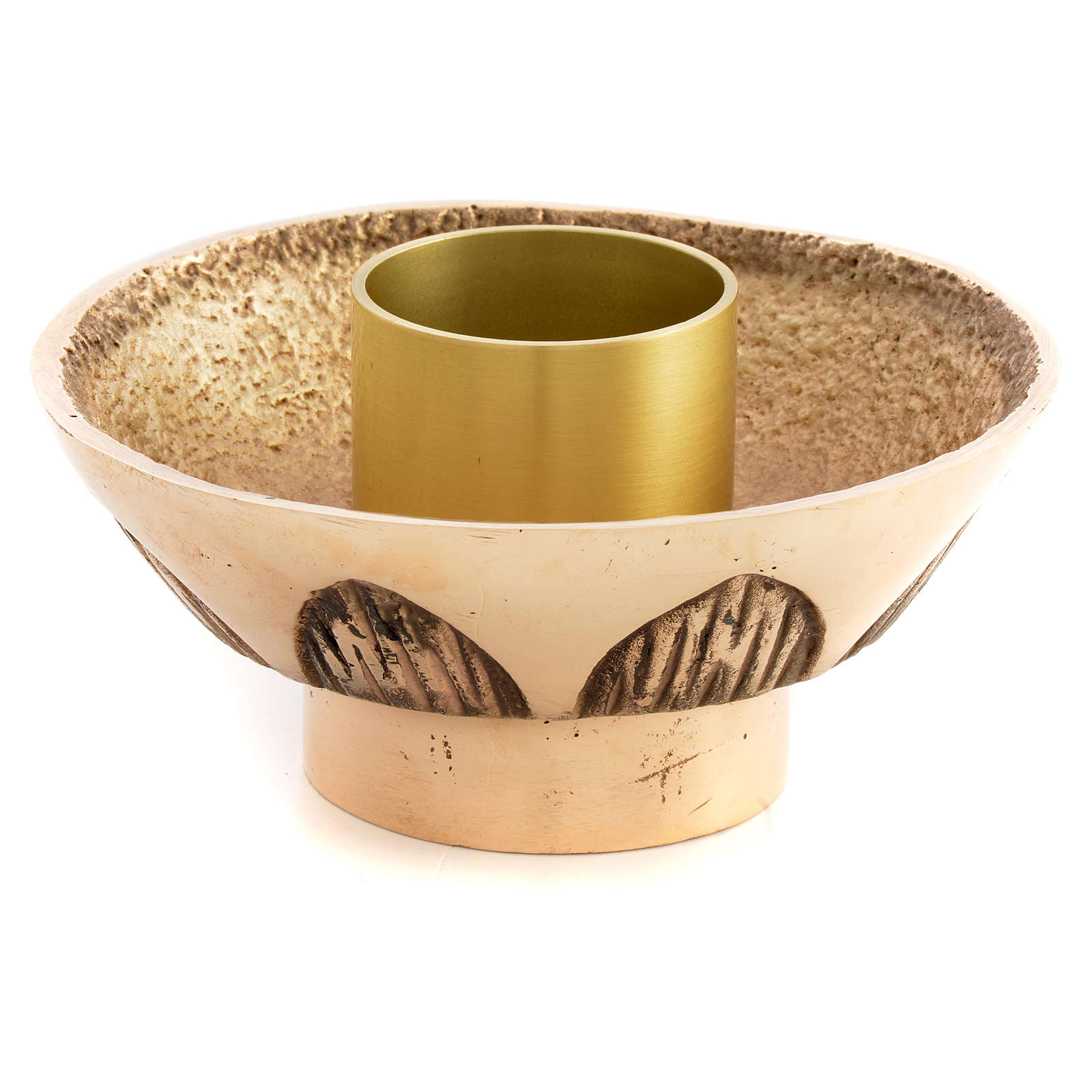 Altar candle holder in cast brass, Molina 4