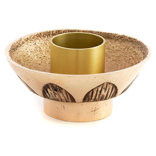 Altar candle holder in cast brass, Molina 1