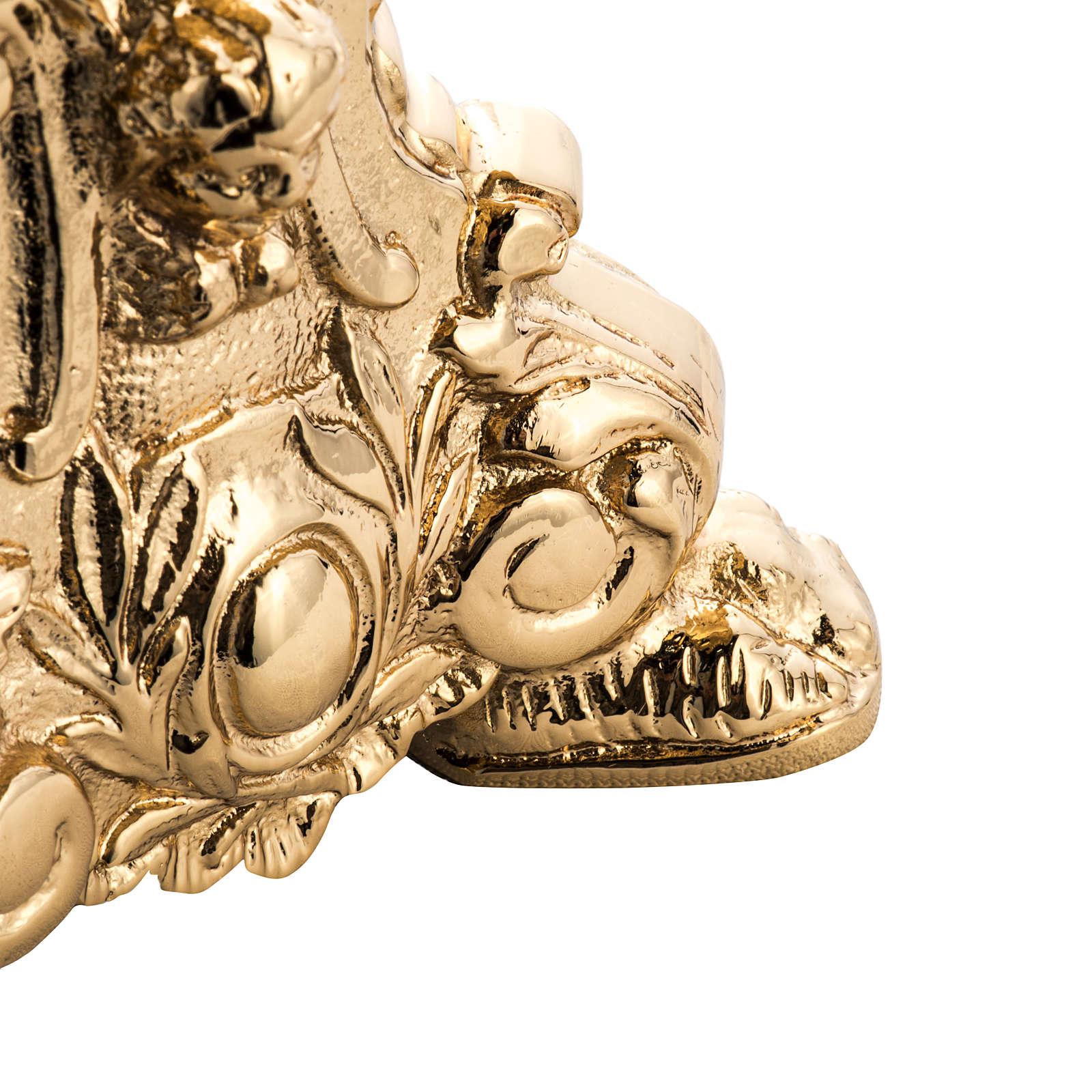 Candelabro barroco latón fundido dorado 4