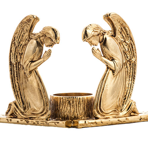Candlestick in cast brass with praying angels 2