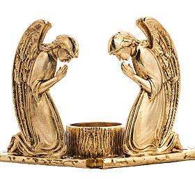 Candeliere ottone fuso angeli in preghiera s2