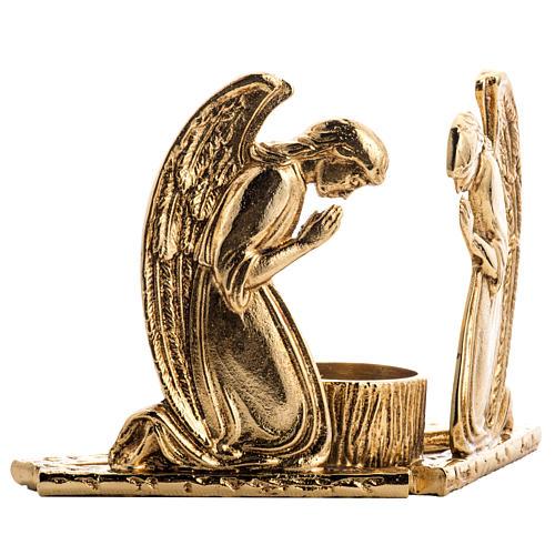 Candeliere ottone fuso angeli in preghiera 3
