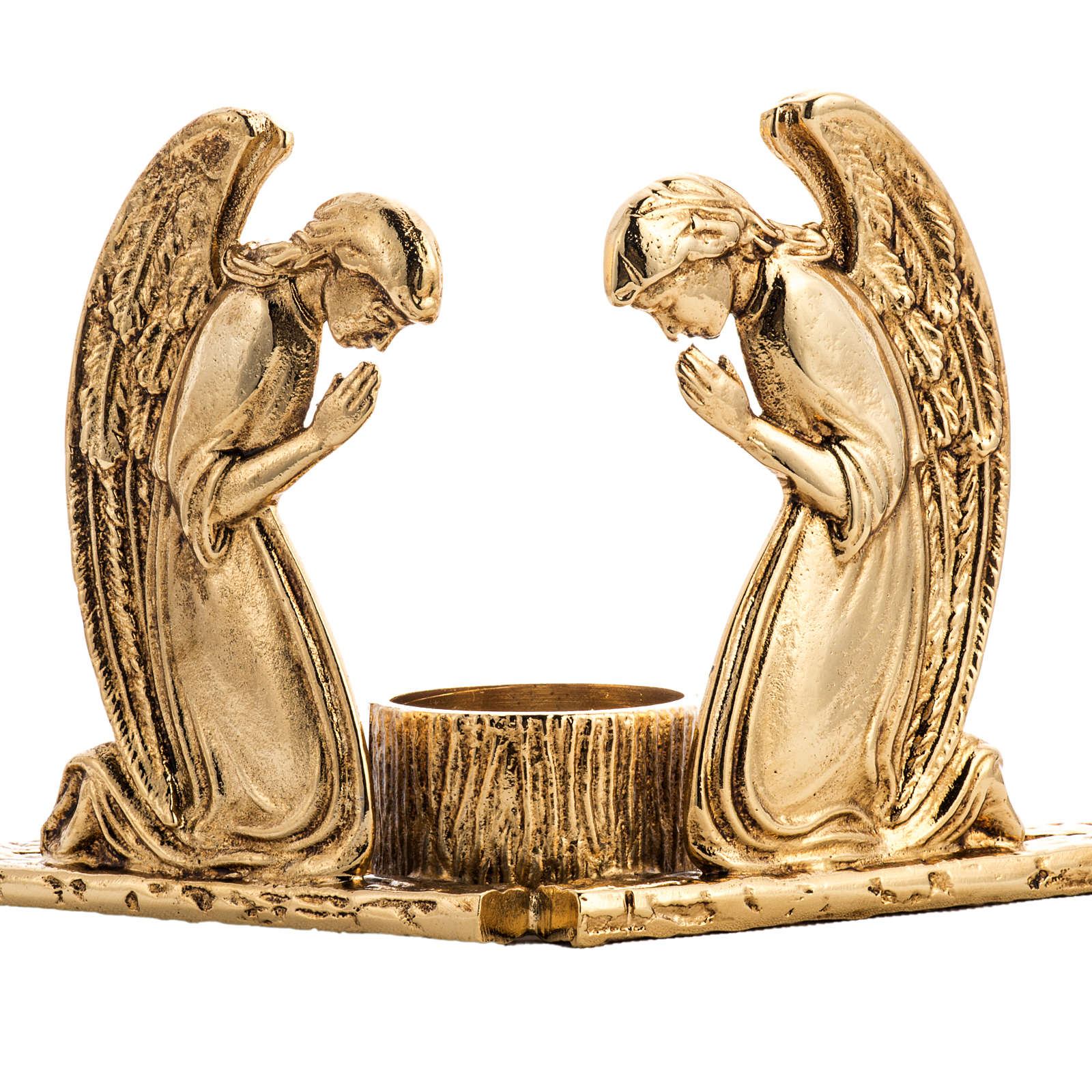 Candlestick in cast brass with praying angels 4