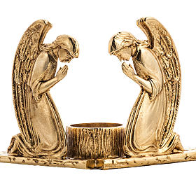 Candlestick in cast brass with praying angels s2