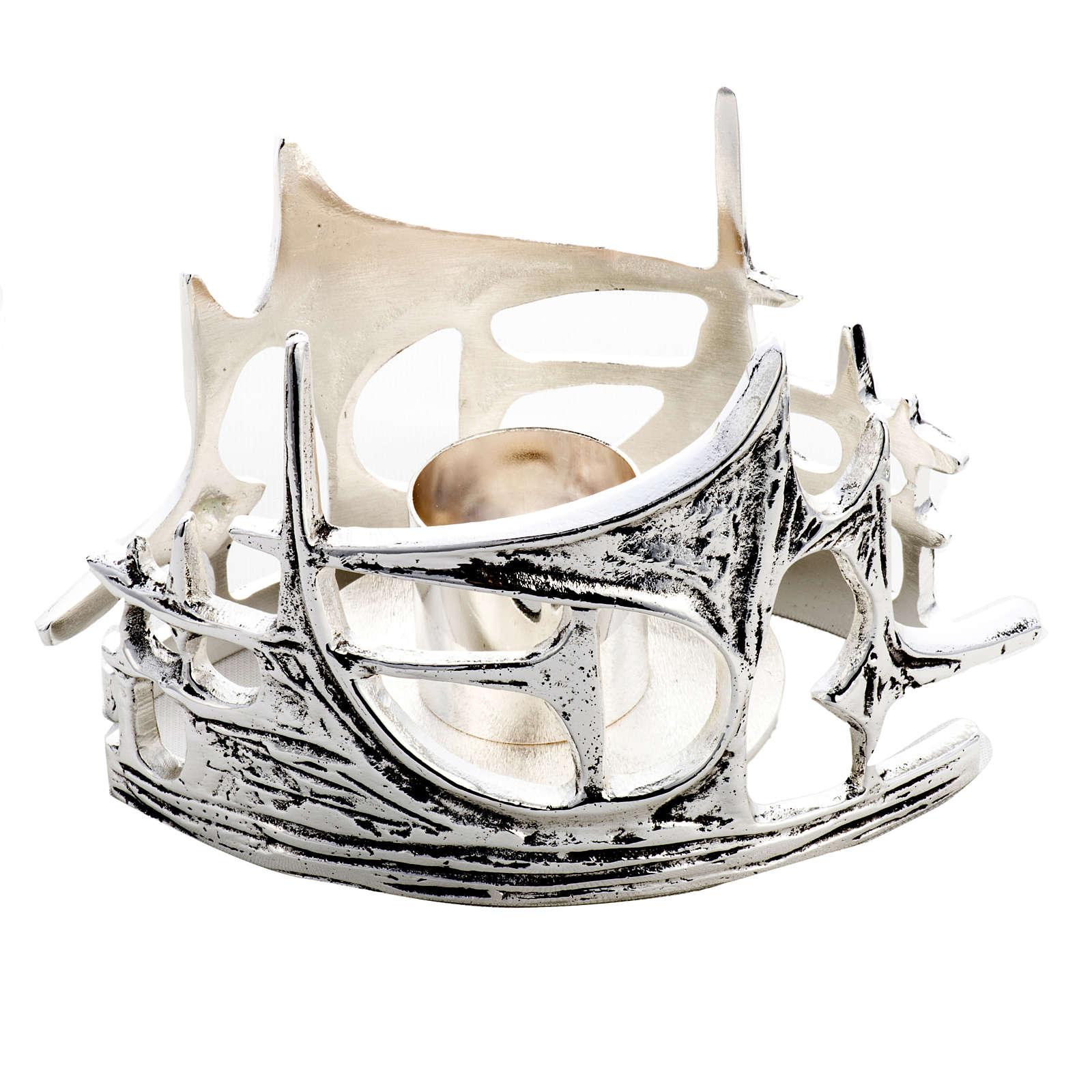 Candeliere stilizzato ottone fuso argentato 4