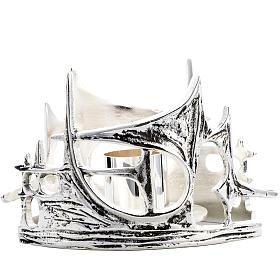 Candeliere stilizzato ottone fuso argentato s1