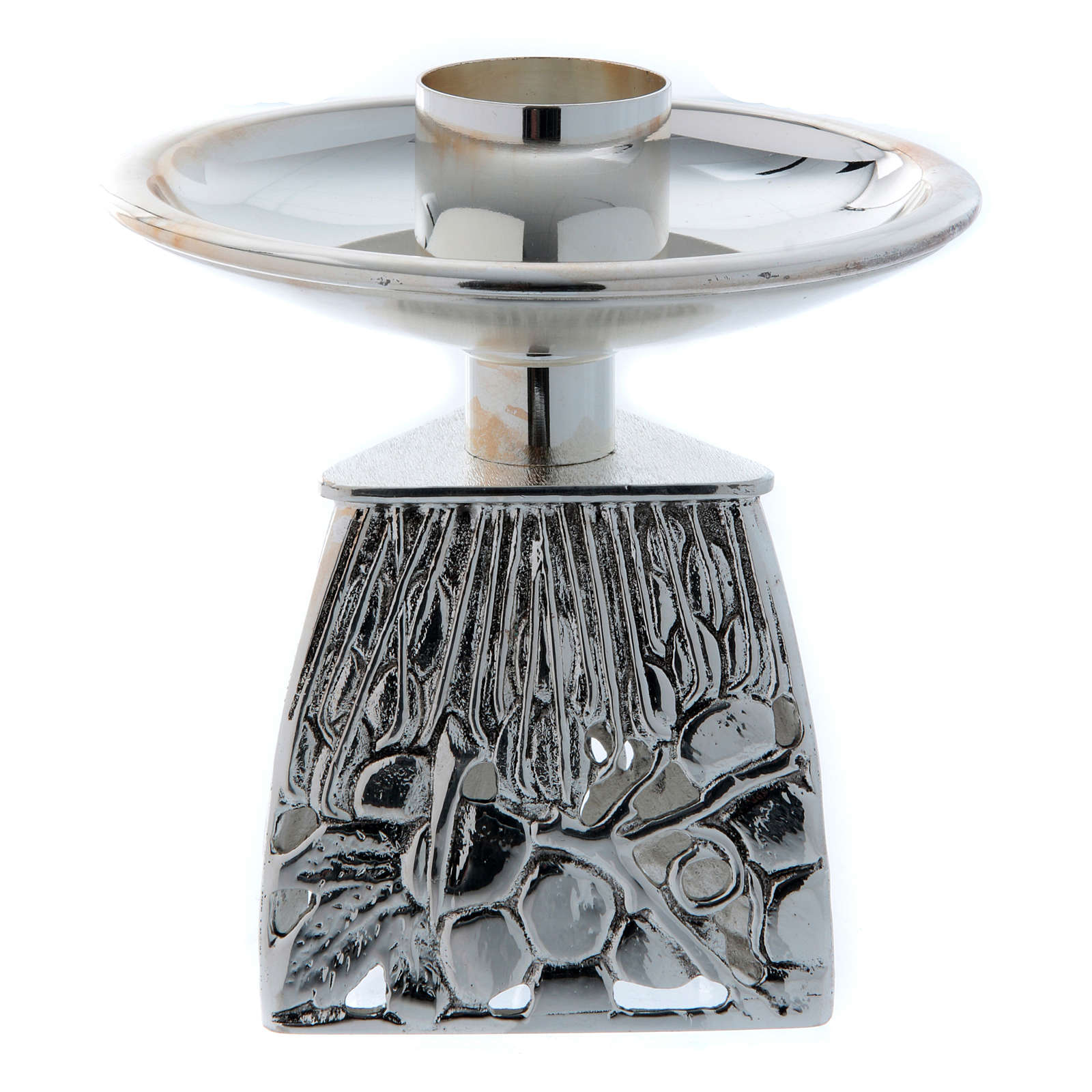 Chandelier d'autel laiton argenté fondu 4