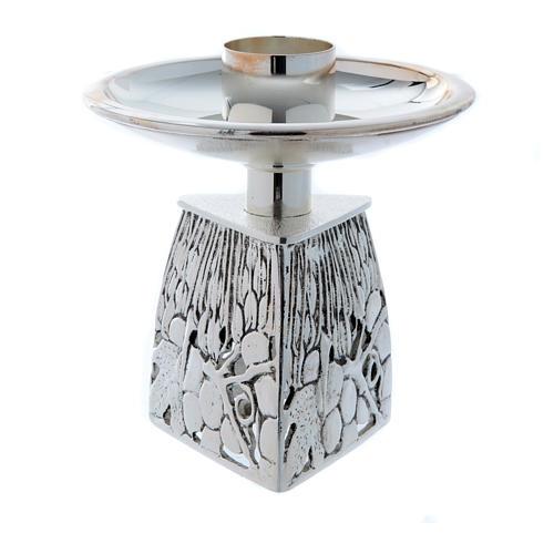 Chandelier d'autel laiton argenté fondu 3