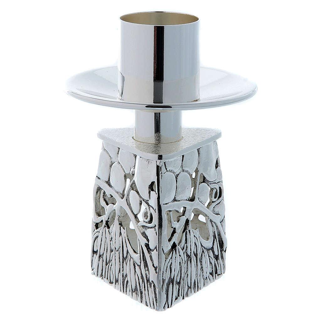 Candeliere ottone argentato fuso 4