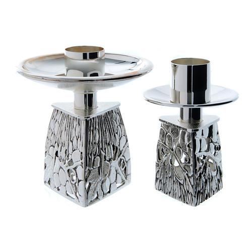 Candeliere ottone argentato fuso 1