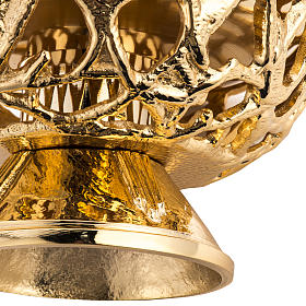 Candlestick, in gold-plate cast brass, stylised s5