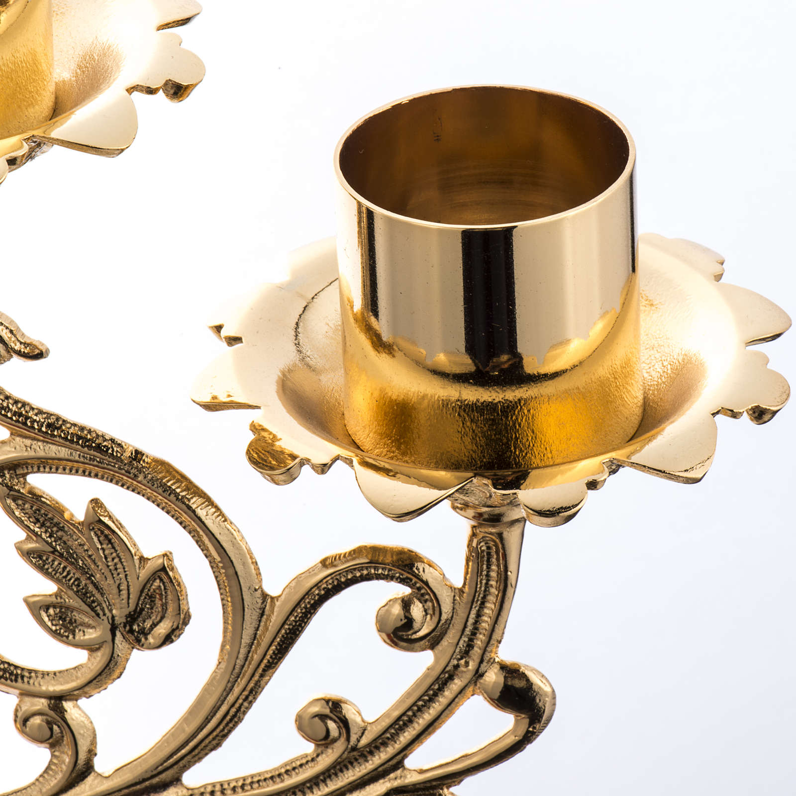 Candlestick in cast brass with 5 flames, baroque style 4