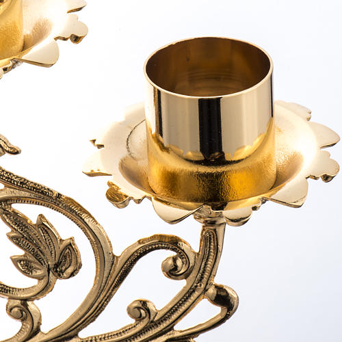 Candlestick in cast brass with 5 flames, baroque style 5