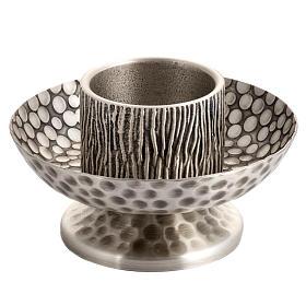Chandeliers métal: Chandelier d'autel laiton argenté martelé