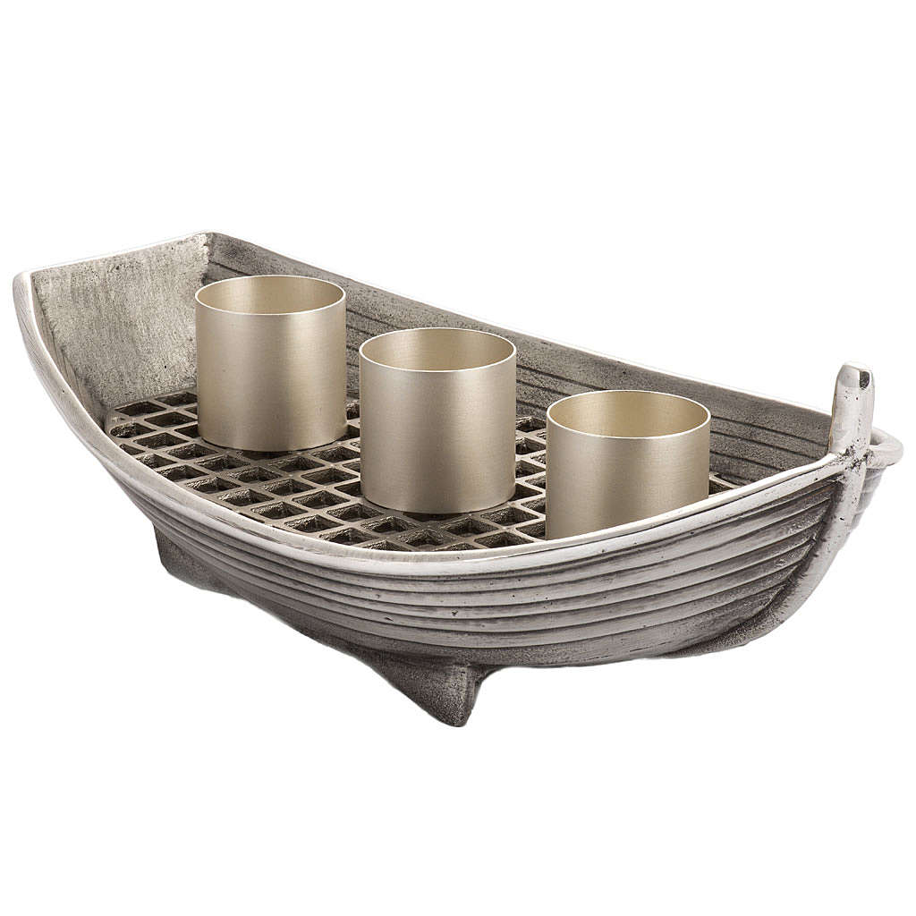 Candeliere barca bronzo argentato 3 fiamme 4