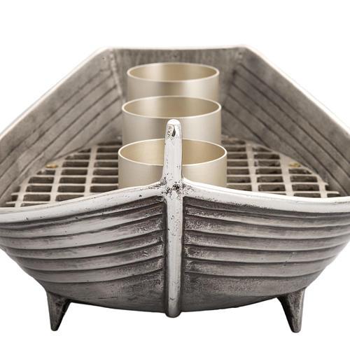 Candeliere barca bronzo argentato 3 fiamme 5