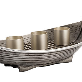 Candlestick, boat shaped in silver plated bronze, 3 flames s3