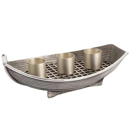 Candlestick, boat shaped in silver plated bronze, 3 flames 1