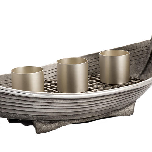 Candlestick, boat shaped in silver plated bronze, 3 flames 3