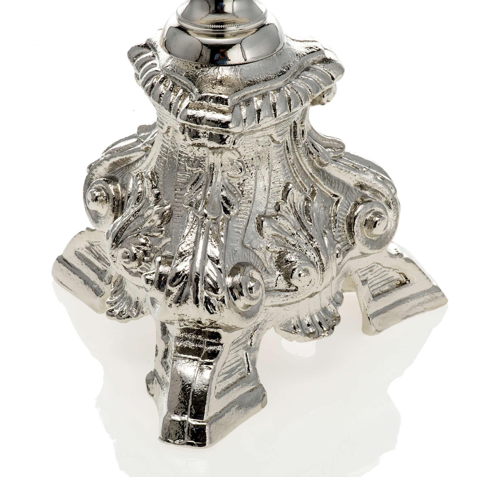 Chandelier baroque sur pied laiton nickelé 70 cm 4