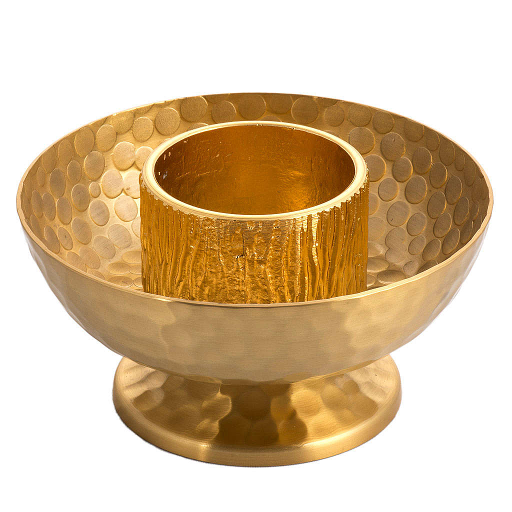 Altar candlestick in gold-plated bronze, hammered 4