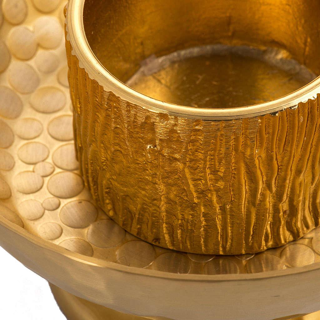 Candelero de mesa latón dorado martillado 4