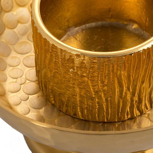 Candelero de mesa latón dorado martillado 2