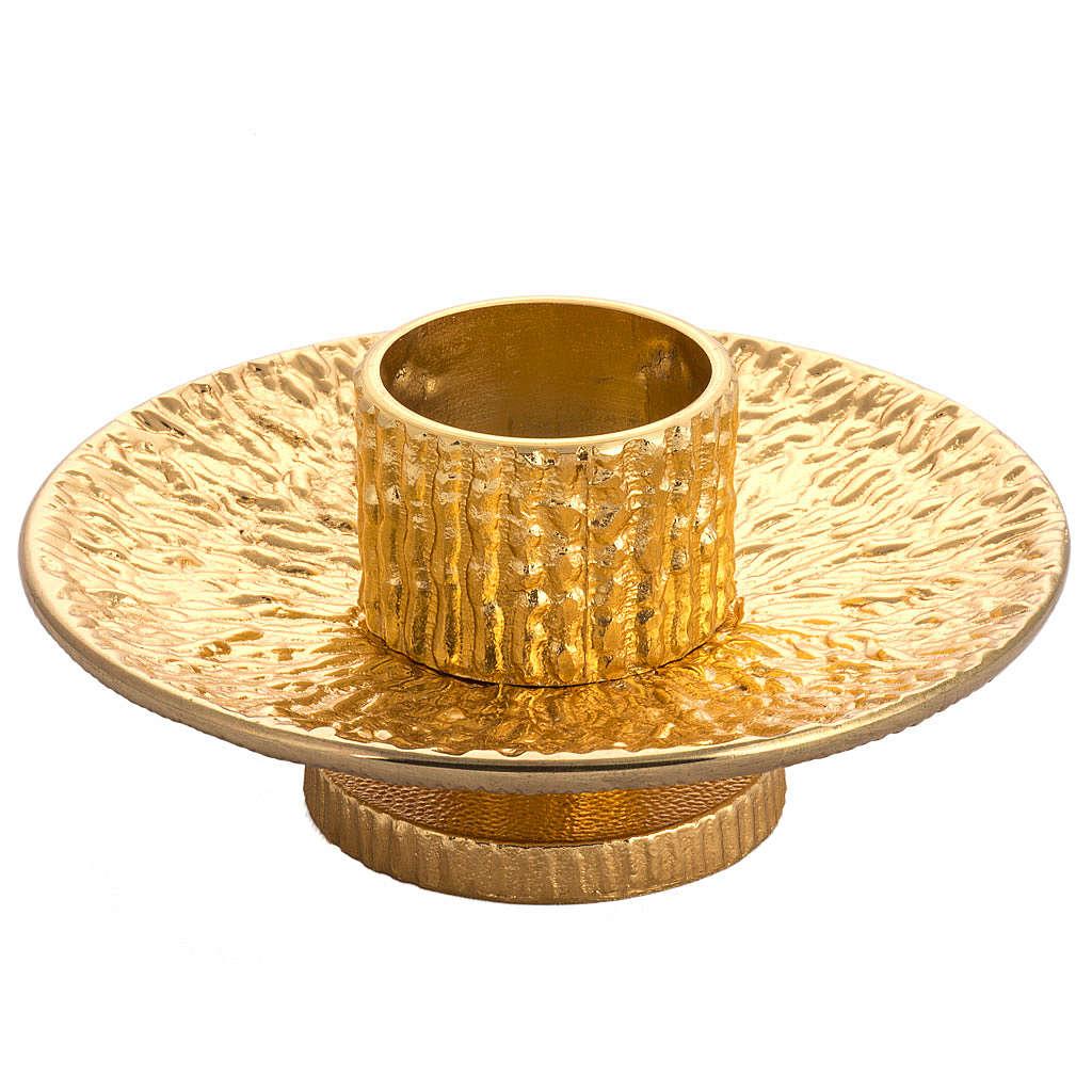 Altar candlestick in golden brass 4