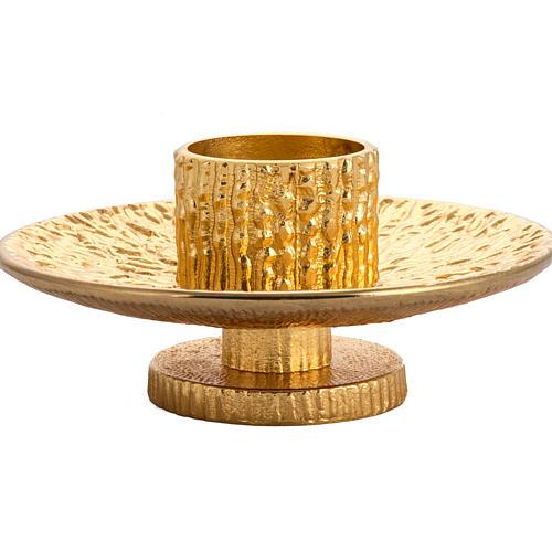 Altar candlestick in golden brass 3