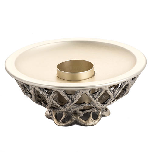 Altar candlestick in silver brass 1