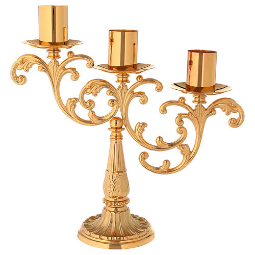 Candlestick in cast brass with 3 flames 1