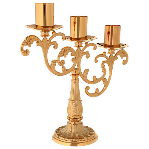Candlestick in cast brass with 3 flames 5