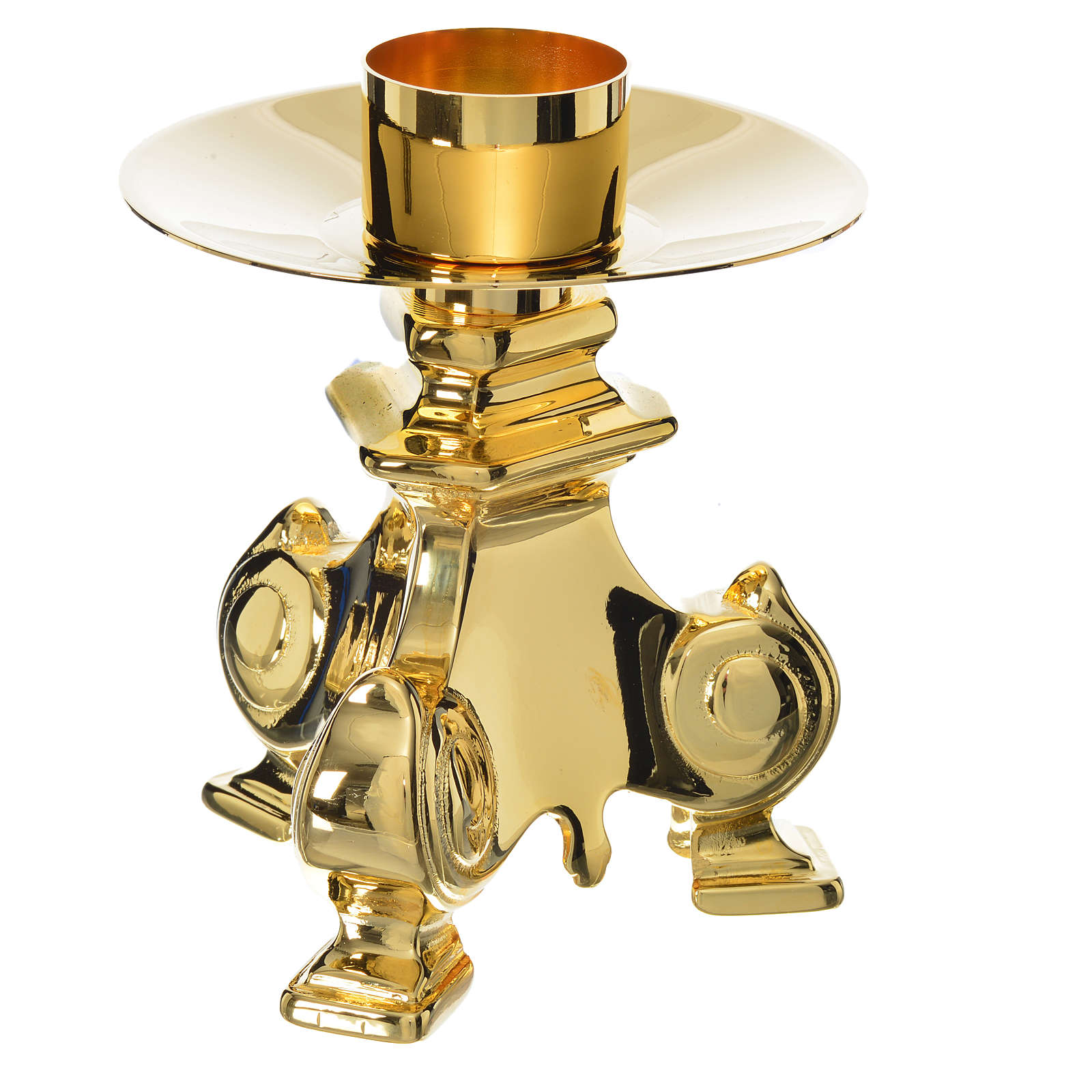 Baroque candlestick in golden brass, polished 4