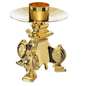Baroque candlestick in golden brass, polished s1