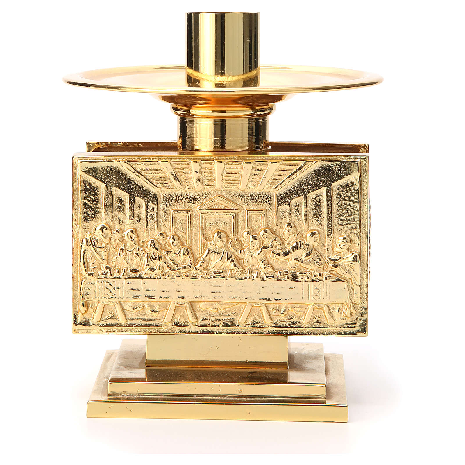 Altar candlestick in golden brass, rectangular shape 4