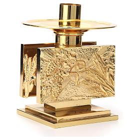 Altar candlestick in golden brass, rectangular shape s3