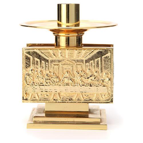 Altar candlestick in golden brass, rectangular shape 1