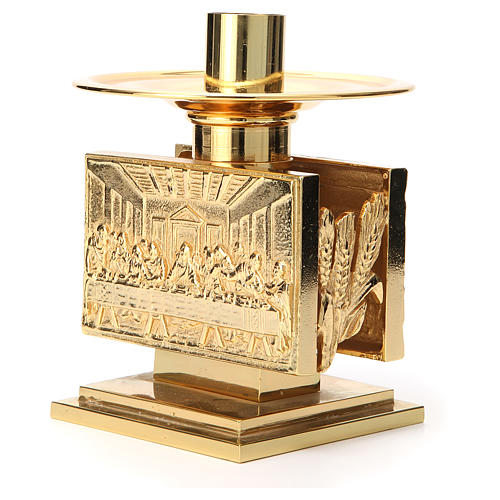 Altar candlestick in golden brass, rectangular shape 2