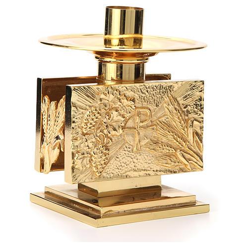Altar candlestick in golden brass, rectangular shape 3