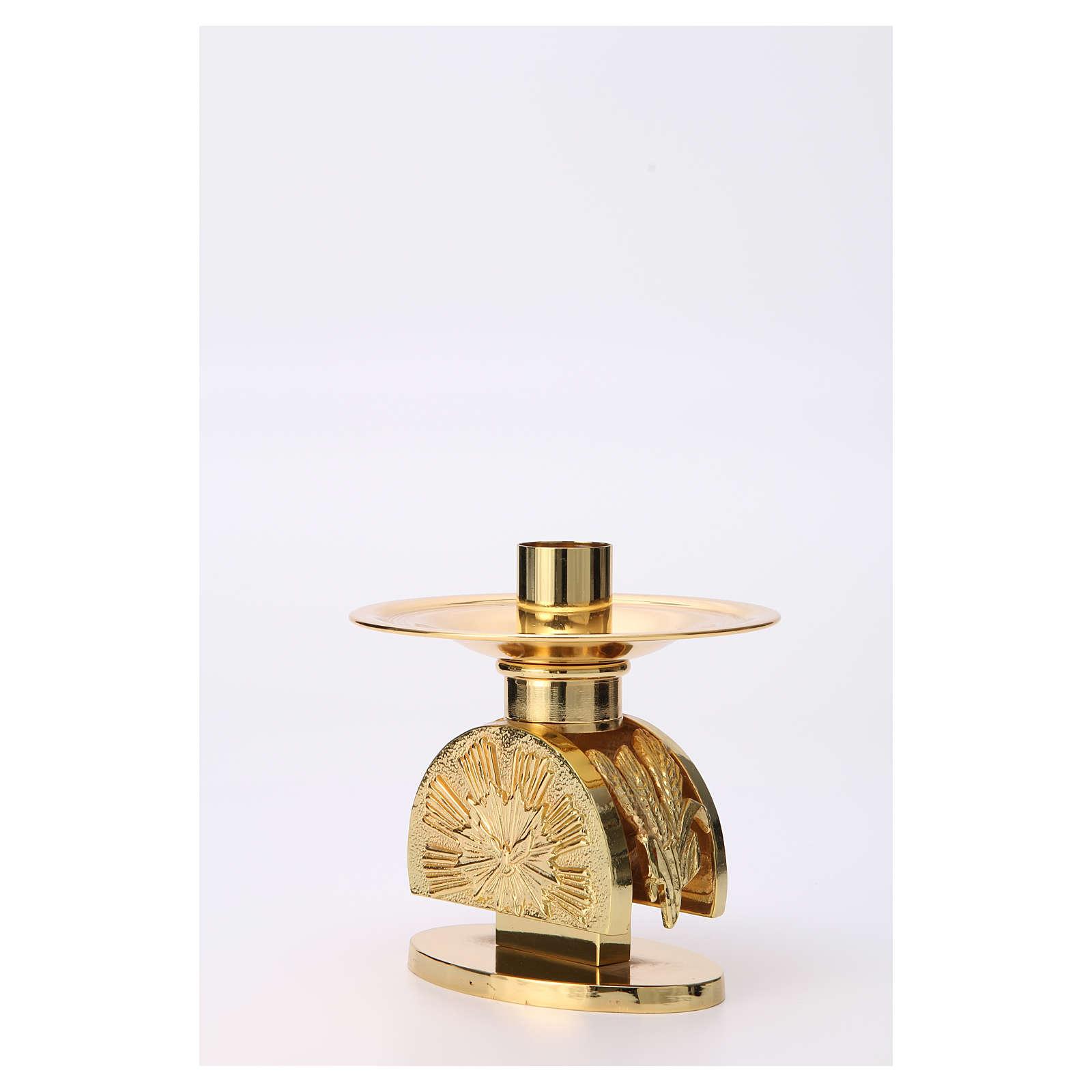 Altar candlestick in golden brass, semi circular shape 4