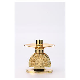 Altar candlestick in golden brass, semi circular shape s1