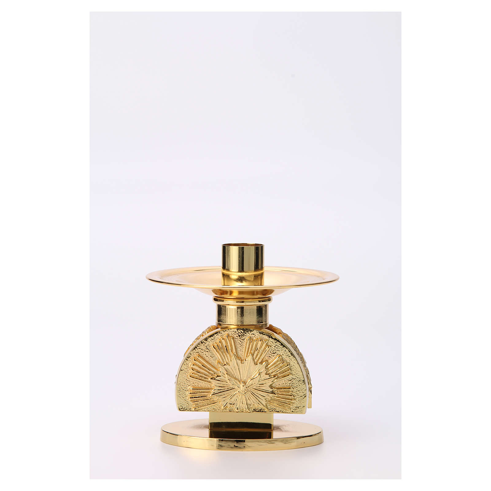 Porta candela da mensa ottone dorato semicircolare 4