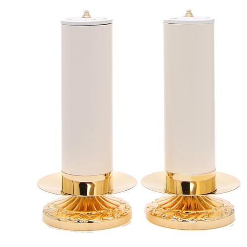 Couple chandeliers empire laiton avec bougies pvc et cartouches 1