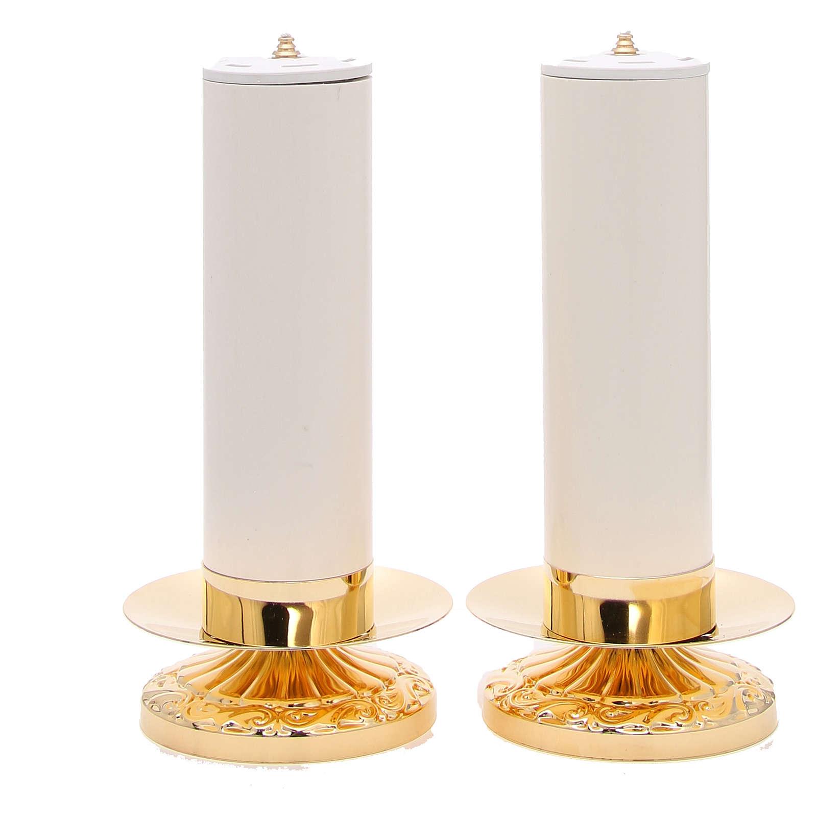 Coppia candelieri Impero ottone con candela pvc e cartuccia 4